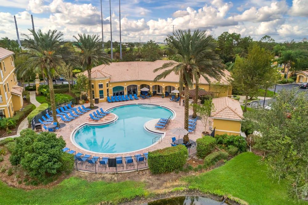 Sparkling swimming pool at Palms at World Gateway in Orlando, Florida