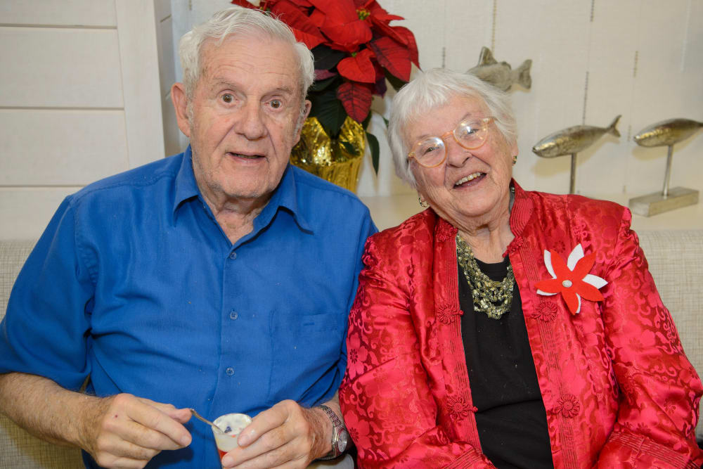 Residents enjoying their community holiday party