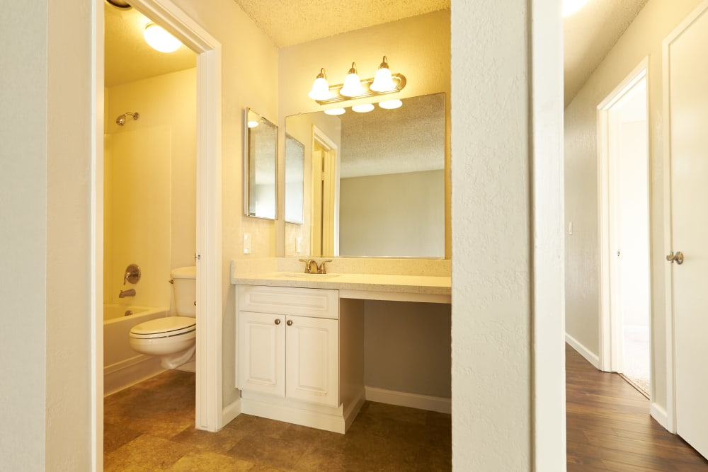 Vanity style mirror at Breakwater Apartments in Santa Cruz, California
