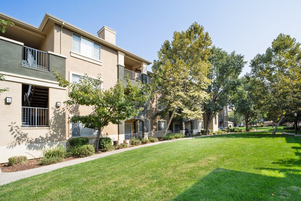 A large grass lawn at Cross Pointe Apartment Homes in Antioch, California