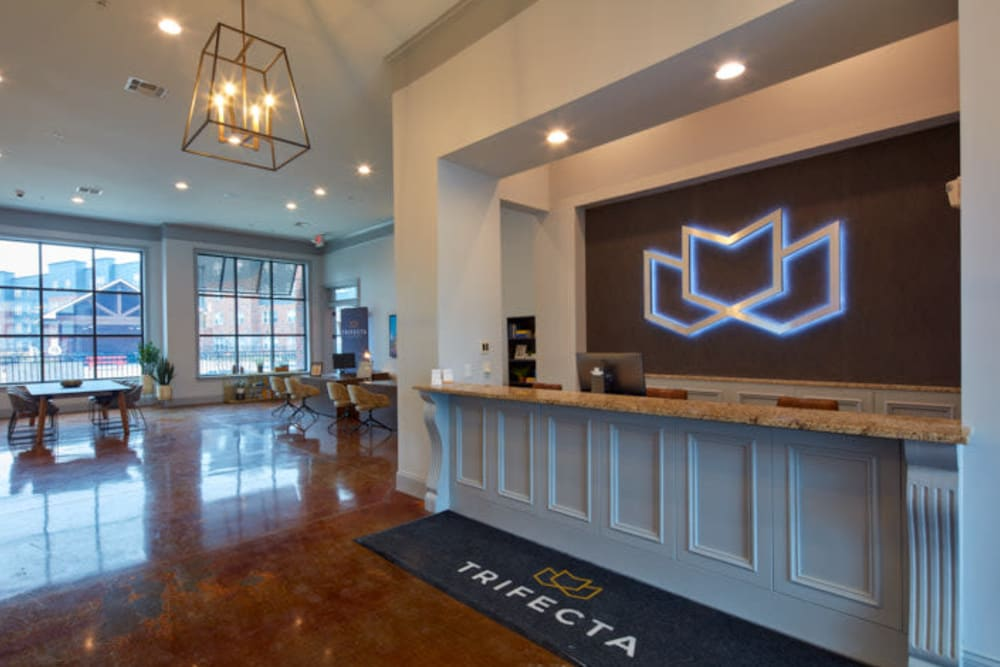 Welcoming lobby at Trifecta Apartments in Louisville