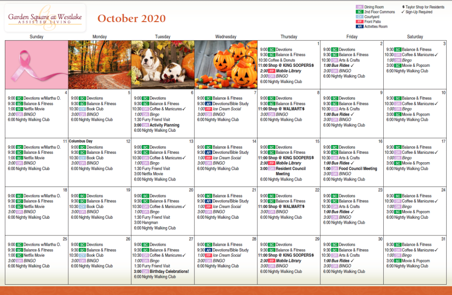 Monthly Calendar at Garden Square at Westlake Assisted Living