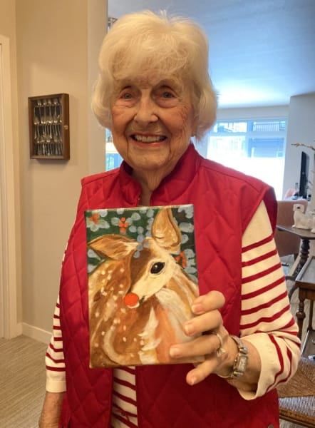 Woman who painted the Rudolph painting