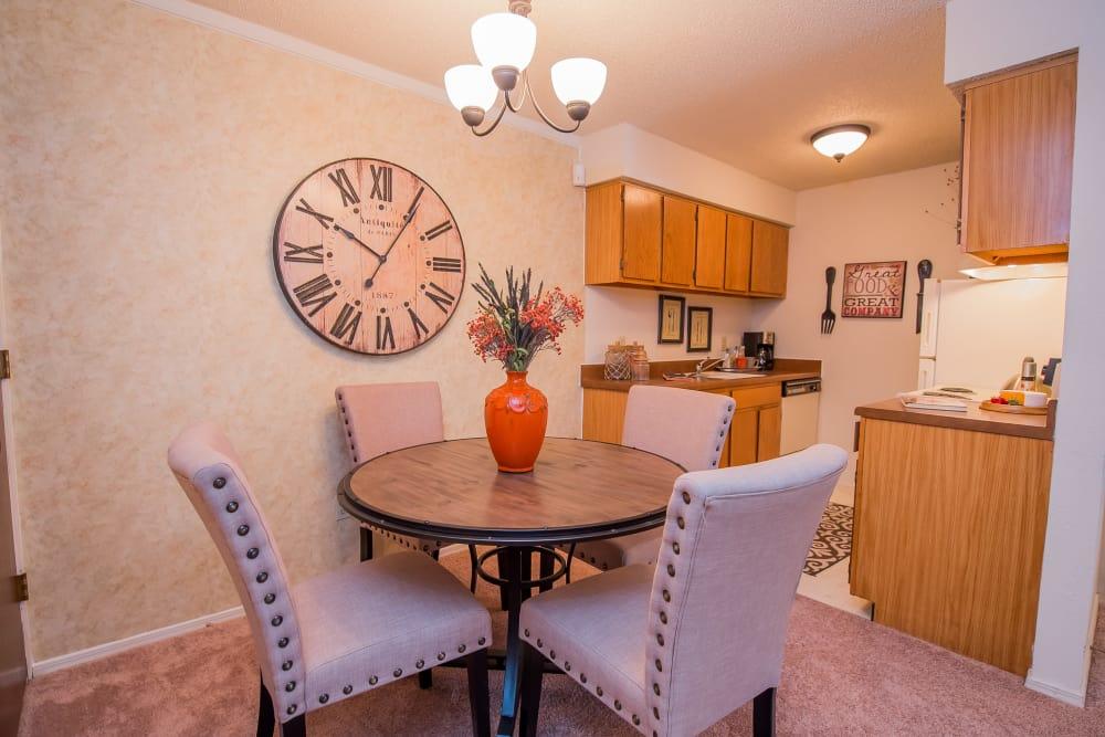 Bright, Cozy Dining Room at Sunchase Apartments in Tulsa, Oklahoma