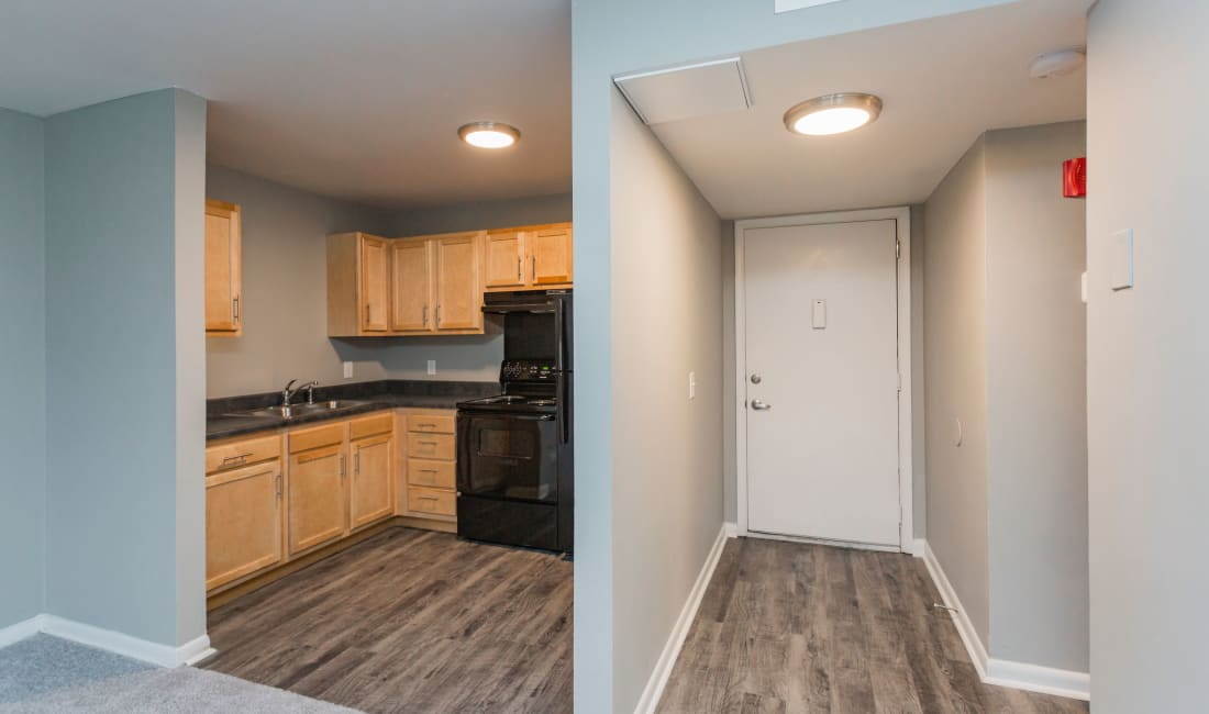 Kitchen and entryway at Gibson Creek Apartments in Madison, Tennessee
