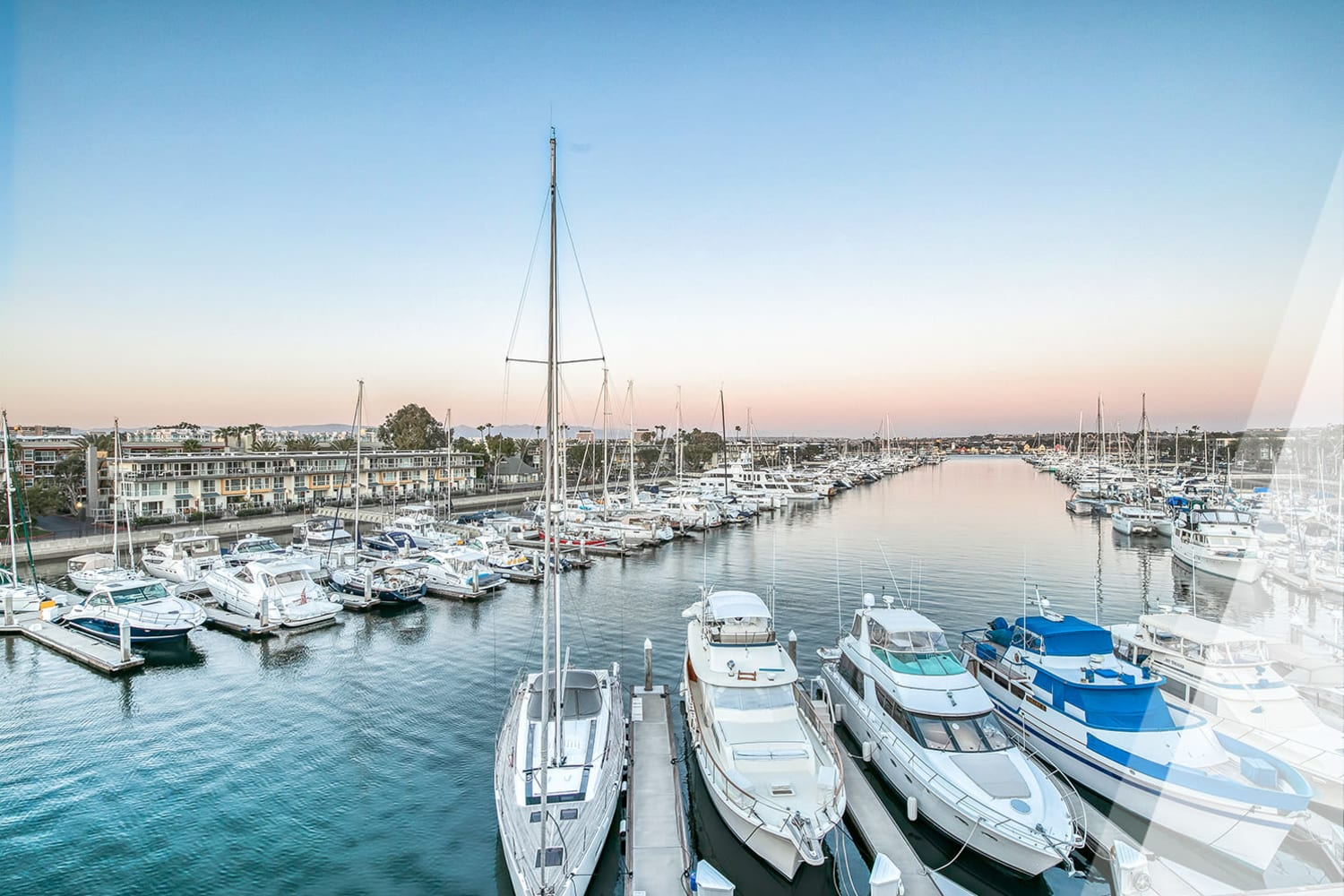 Harbor view at one of the luxury waterfront communities by E&S Ring Management Corporation in Los Angeles, California