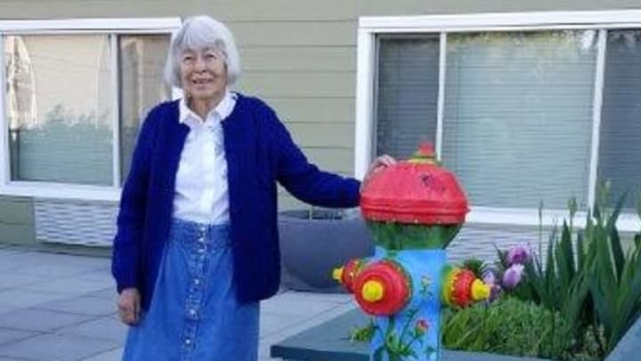 Merrill Gardens at Renton Centre resident adopts a fire hydrant