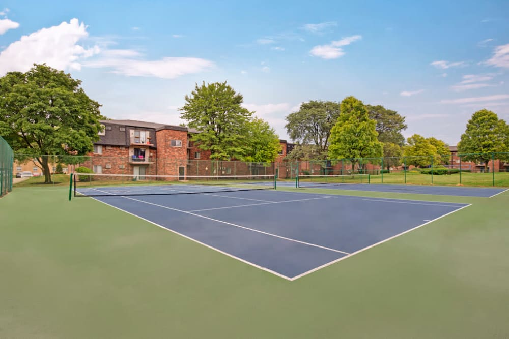 Two tennis courts for resident use at Blackhawk Apartments in Elgin, Illinois