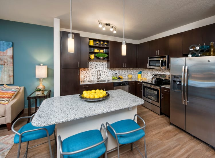 Well-decorated kitchen in a model home at The Courtney at Universal Boulevard in Orlando, Florida