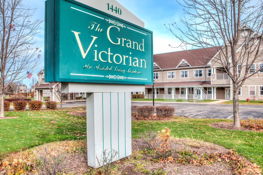 Emerald front sign of upscale senior living facility at Grand Victorian of Sycamore in Sycamore, Illinois