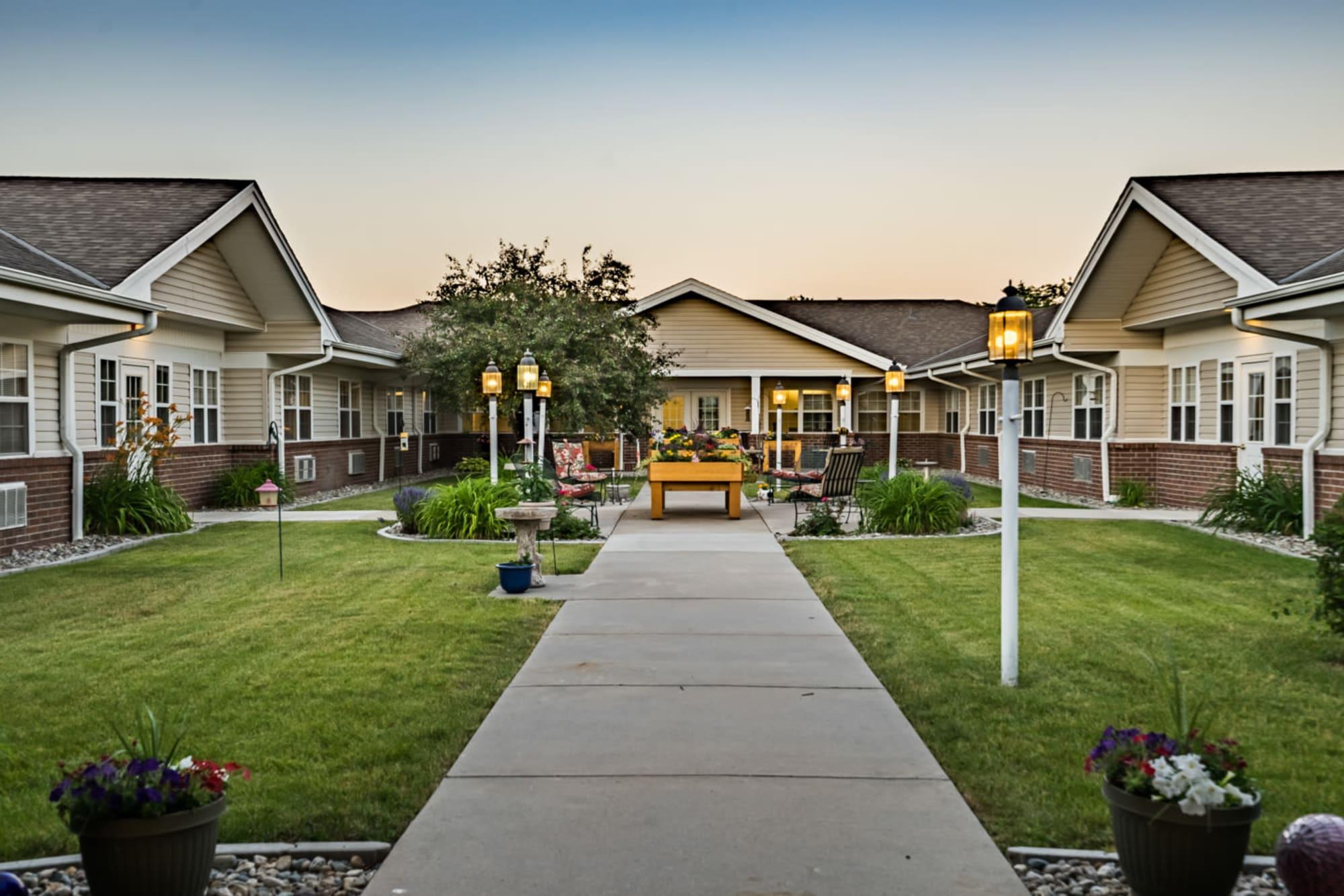 Outside pathway leading up to upscale senior living facility at Madison House in Norfolk, Nebraska.