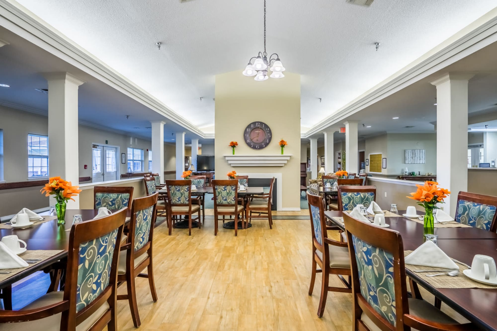 Dining room with wood accents at Madison House in Norfolk, Nebraska