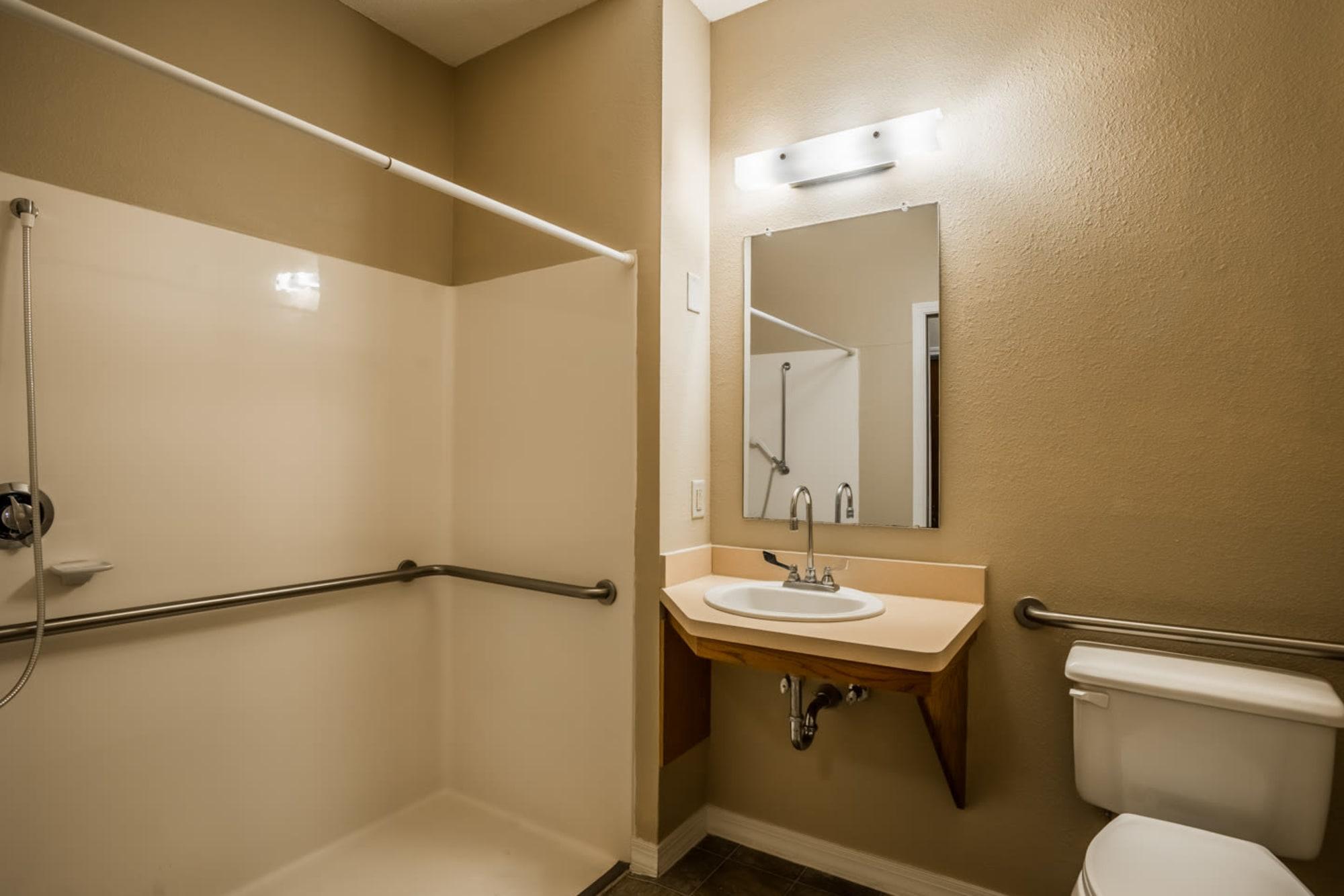 Bathroom in senior living apartment at Madison House in Norfolk, Nebraska