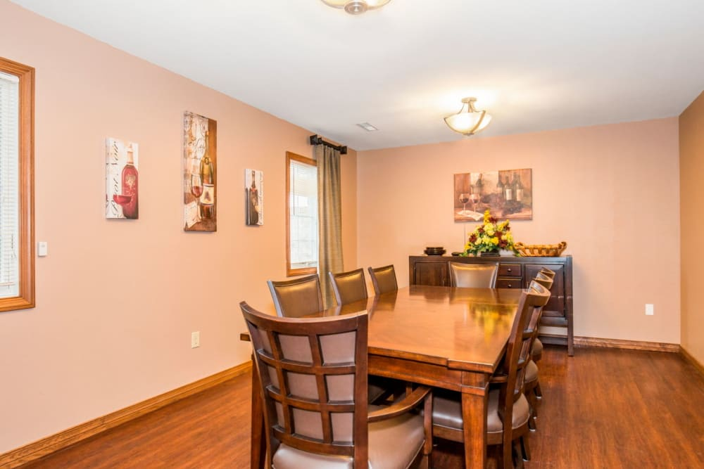Dining room with wood accents at Brookstone Estates of Tuscola in Tuscola, Illinois