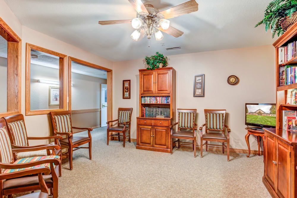 Library with wood accents at Brookstone Estates of Rantoul in Rantoul, Illinois
