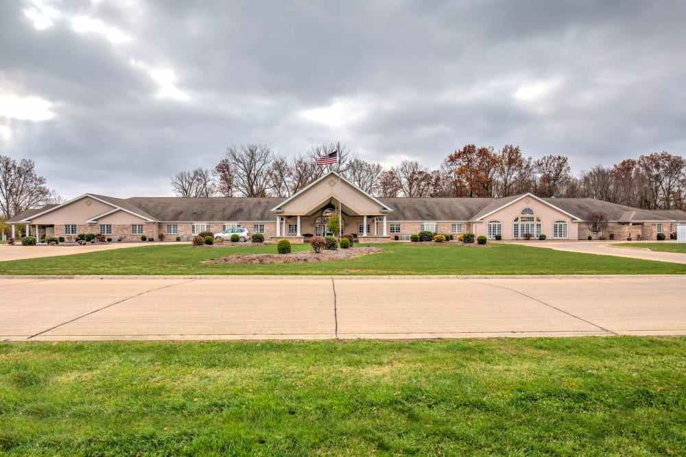 Front entrance complete with grass at Brookstone Estates of Paris in Paris, Illinois