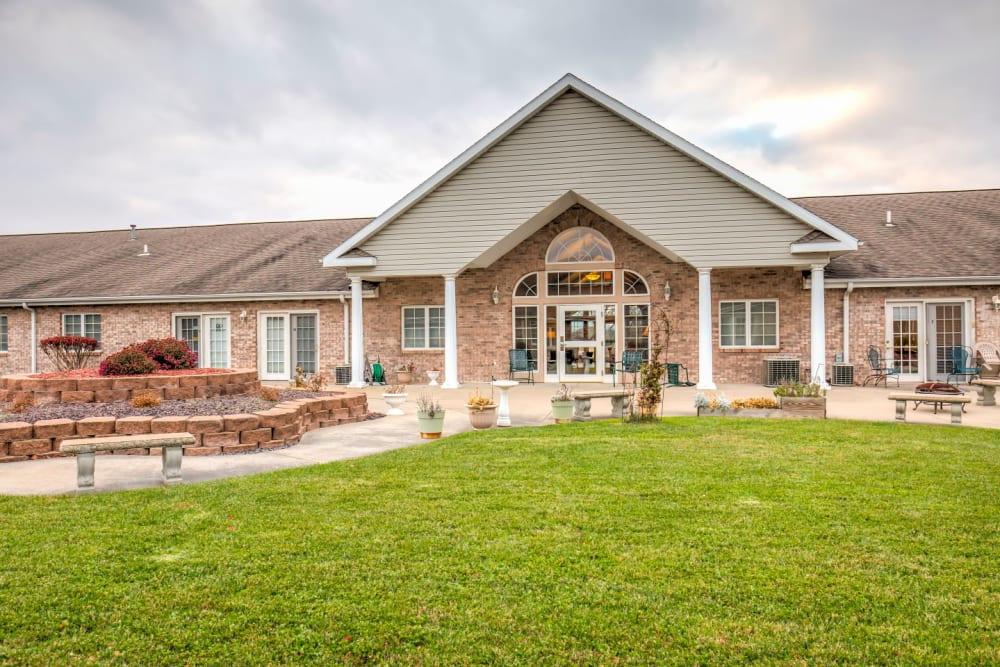 Entry to upscale senior living facility at Brookstone Estates of Olney in Olney, Illinois