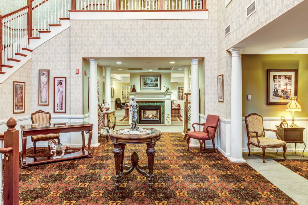 Impressive front lobby of upscale senior living facility at Grand Victorian of Rockford in Rockford, Illinois