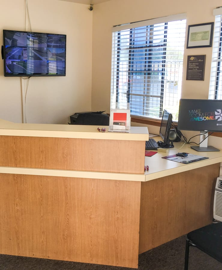 Interior of the leasing office at StorQuest Self Storage in Temecula, California