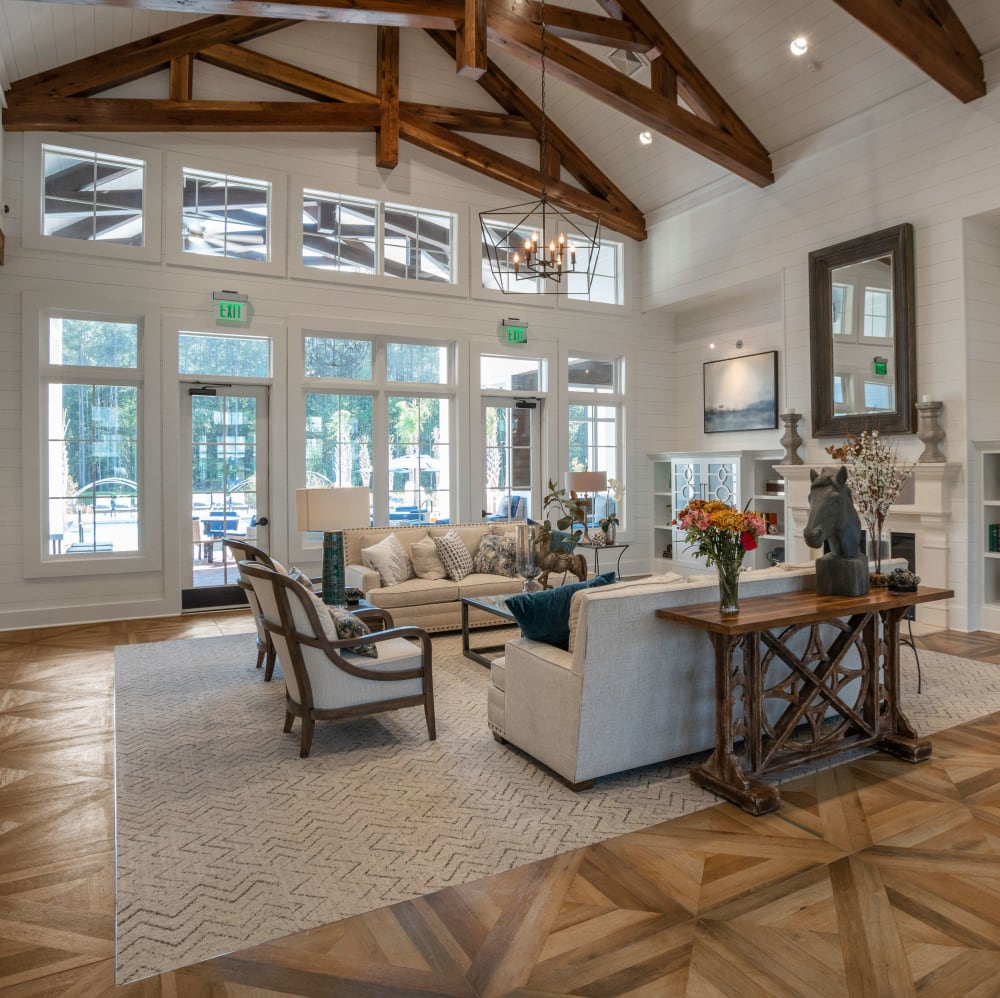 Rustic resident clubhouse with high ceilings at Elevate at Brighton Park in Summerville, South Carolina