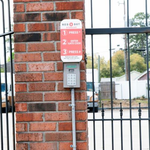 Keypad at the entrance gate at Red Dot Storage in Hammond, Louisiana