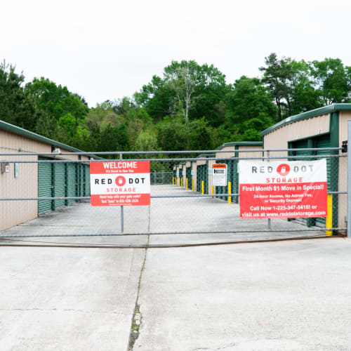 Entrance gate at Red Dot Storage in Walker, Louisiana