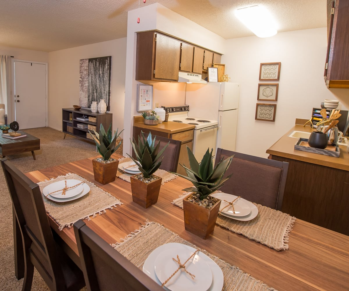 Spacious dining room at Raintree Apartments in Wichita, Kansas