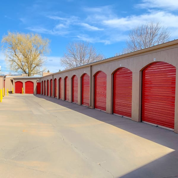Outdoor storage units with drive-up access at StorQuest Self Storage in Lafayette, Colorado