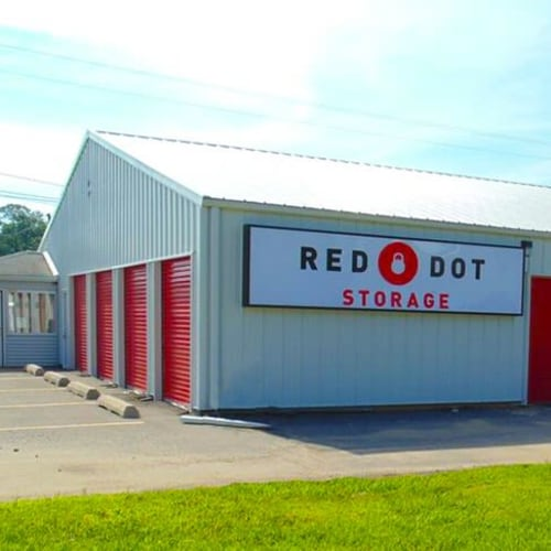 Outdoor storage units at Red Dot Storage in New Palestine, Indiana