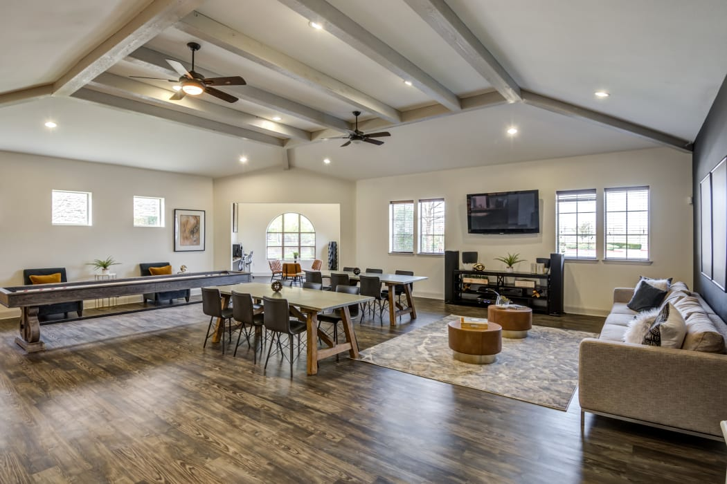 Clubhouse living room at Riverside Villas in Fort Worth, Texas