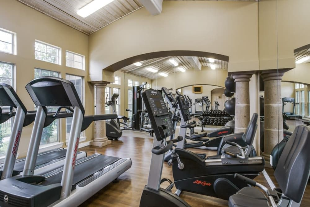 Well equipped fitness center at Estates on Frankford in Dallas, Texas