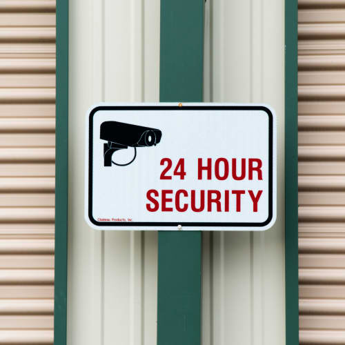 24 hour security sign at Red Dot Storage in Slidell, Louisiana