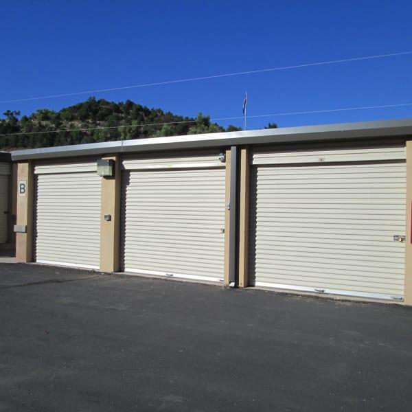 Outdoor storage units at StorQuest Self Storage in Manitou Springs, Colorado