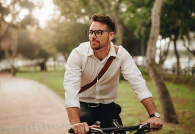 Resident biking to work near Skyline in Thornton, Colorado