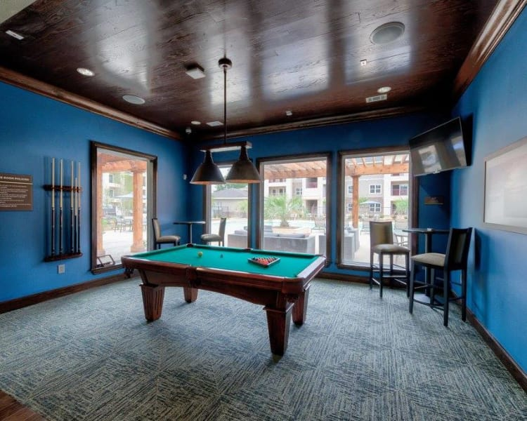 Billiards table in the clubhouse at Hilltops in Conroe, Texas