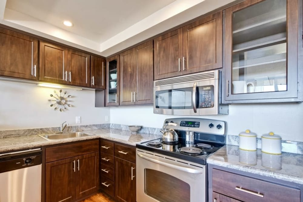 Luxury kitchens with stainless steel appliances at The Marc, Palo Alto in Palo Alto, California