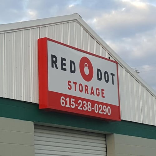 Sign on the front of building at Red Dot Storage in Springfield, Tennessee