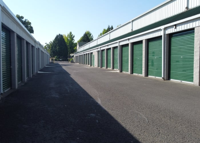 Drive-up access storage units at A Storage Place in Tualatin, Oregon