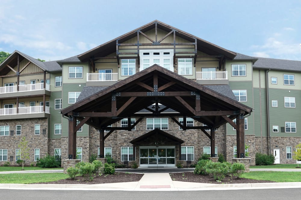 Front entrance at Harmony at Morgantown in Morgantown, West Virginia