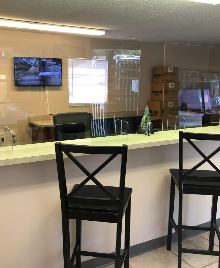 Interior of the leasing office at StorQuest Self Storage in Tampa, Florida