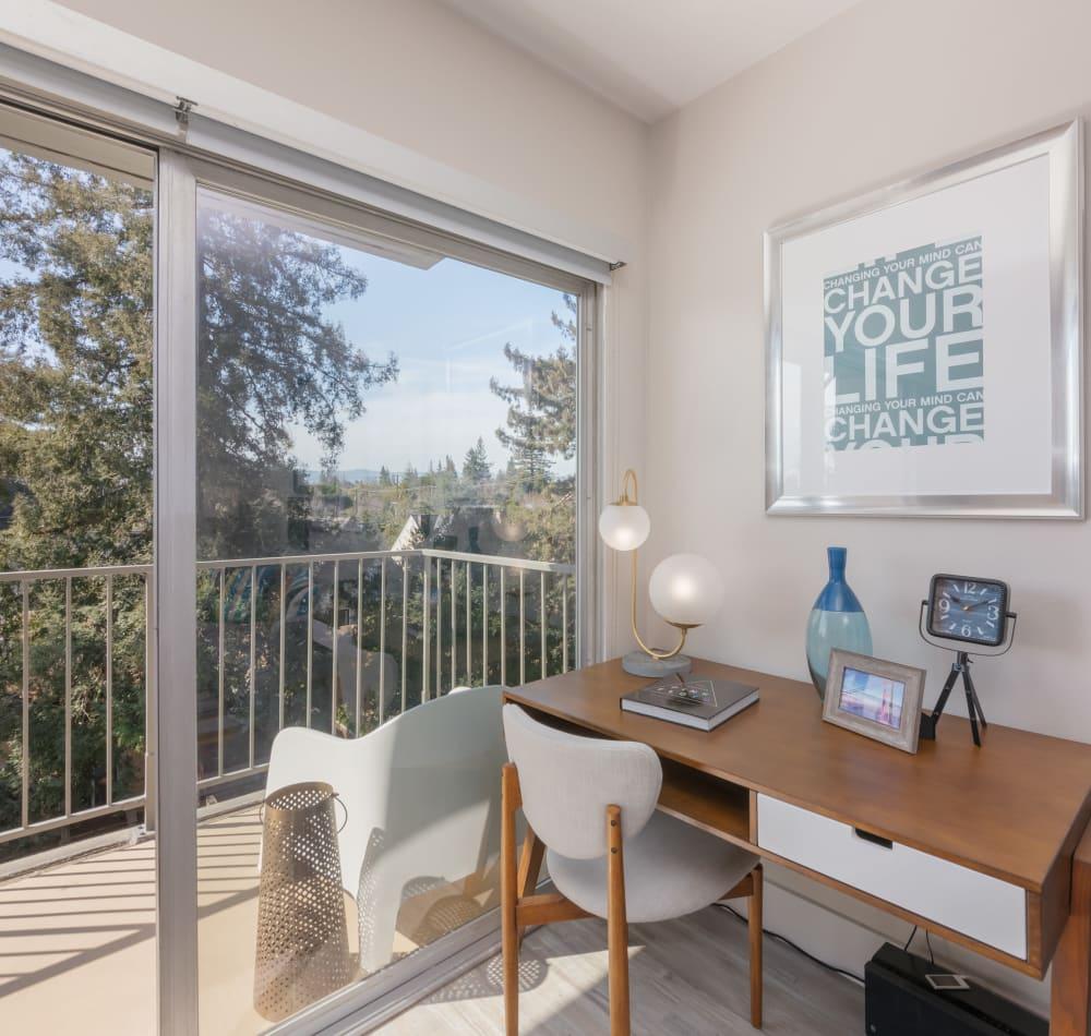 Modern furnishings in a model studio home at Mia in Palo Alto, California