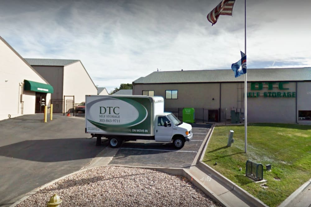 Moving truck in storage parking area at DTC Self Storage in Centennial, Colorado