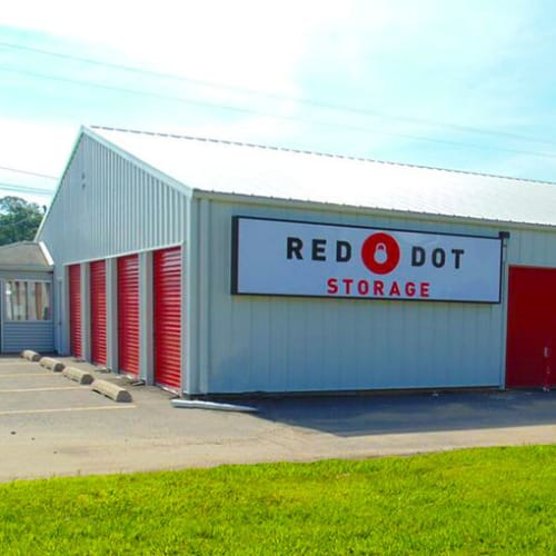Outdoor storage units at Red Dot Storage in Holt, Michigan