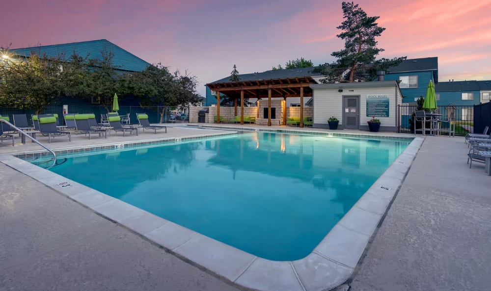 Swimming pool area at Stratus Townhomes in Westminster, Colorado