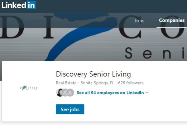 A linked in screen shot for Discovery Senior Living in Bonita Springs, Florida