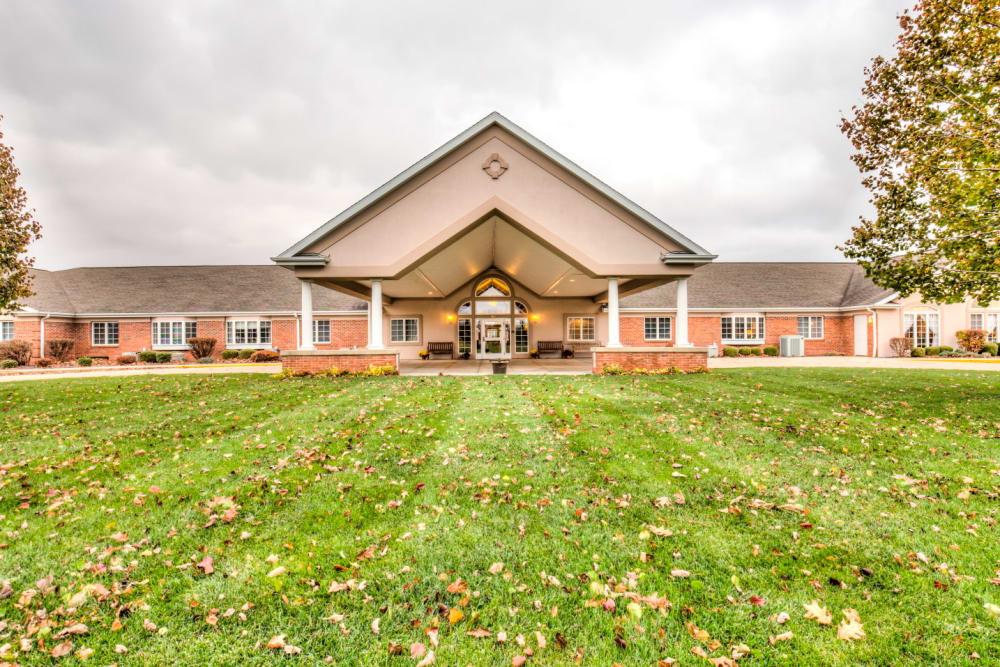 Impressive view of upscale senior living facility entrance at Brookstone Estates of Rantoul in Rantoul, Illinois