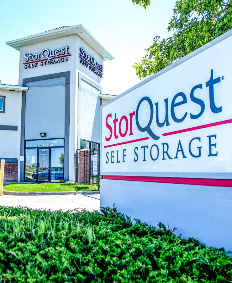 Branding and signage in front of StorQuest Self Storage in Aurora, Colorado
