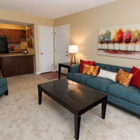 furnished living room at The Bluffs at Epps Bridge