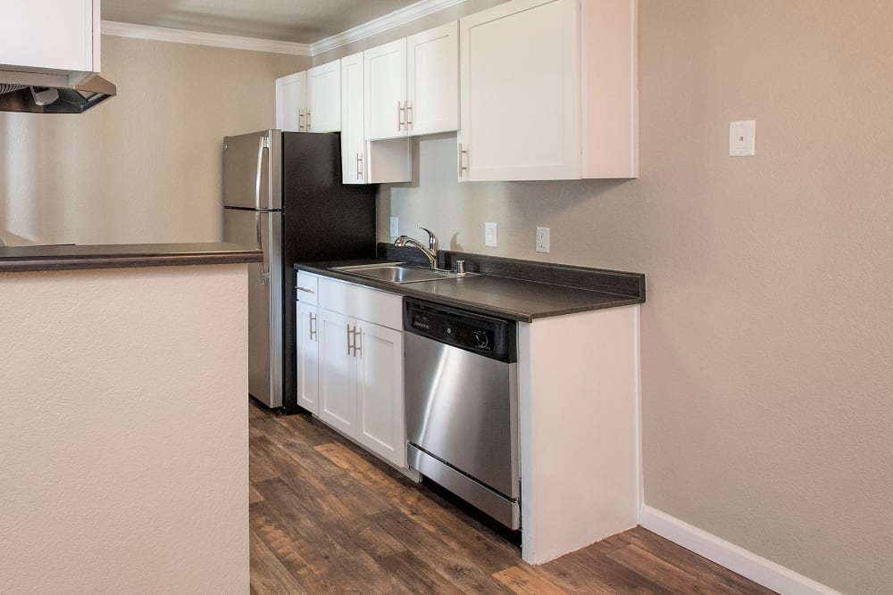 Apartment kitchen with stainless-steel appliances at Plum Tree Apartment Homes in Martinez, California