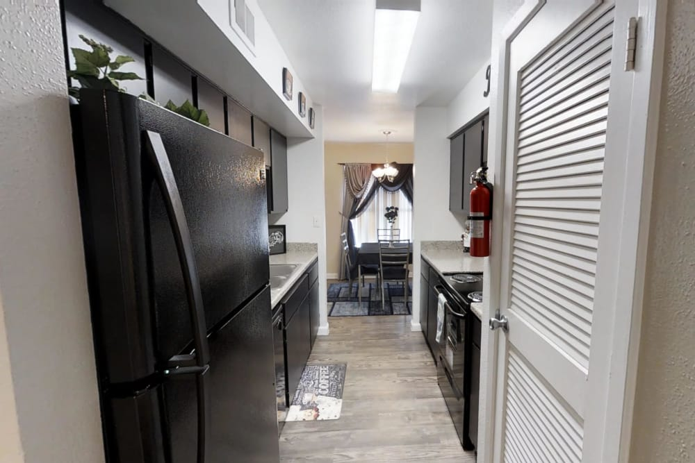 Renovated kitchen at Green Meadows Apartments in Houston, Texas